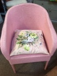 Pink chair and cushion