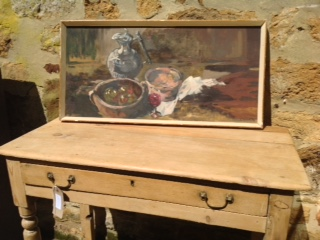 TABLE AND PAINTINGS